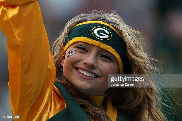 A cheerleader for the Green Bay Packers performs during a game against the San Francisco 49ers at Lambeau Field on December 5 2010 in Green Bay...