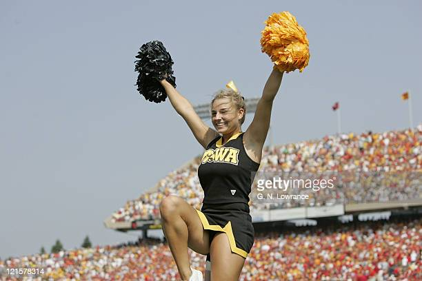 A cheerleader for the Iowa Hawkeyes in action during a game against the Iowa State Cyclones at Jack Trice Stadium in Ames Iowa on Sept 10 2005 Iowa...