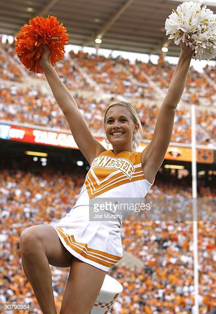 A cheerleader for the Tennessee Volunteers cheers against the UCLA Bruins on September 12 2009 at Neyland Stadium in Knoxville Tennessee UCLA beat...