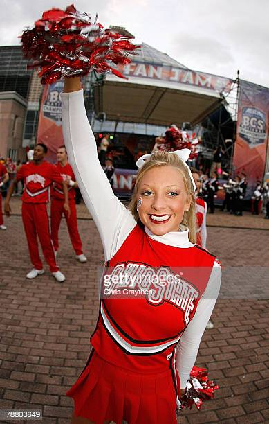 A cheerleader from the Ohio State Buckeyes performs outside the stadium prior to the AllState BCS National Championship against the Louisiana State...