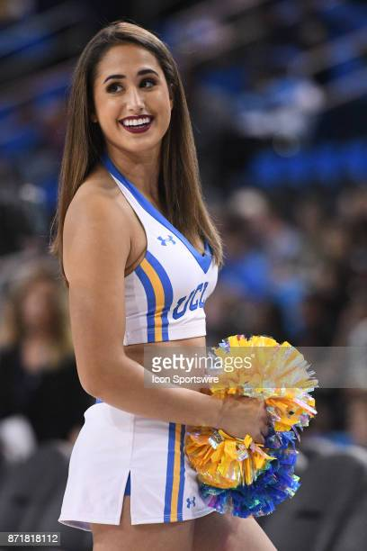 UCLA cheerleader looks on during an college exhibition basketball game between the Cal State Los Angeles and the UCLA Bruins on November 1 at Pauley...