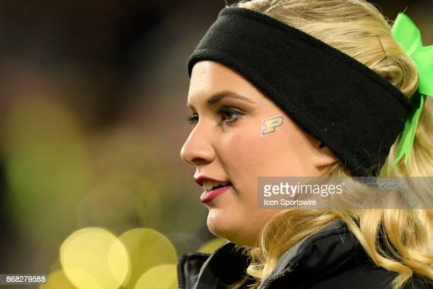 A cheerleader looks on during the Big Ten conference game between the Purdue Boilermakers and the Nebraska Cornhuskers on October 28 at RossAde...