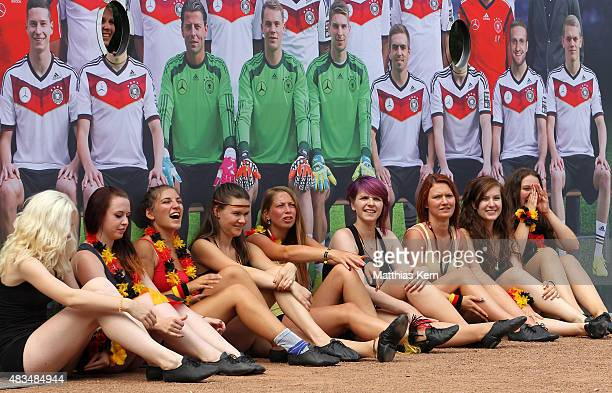 Cheerleader of Lichtenstein pose during the DFB Ehrenrunde on August 9 2015 in Lichtenstein Germany