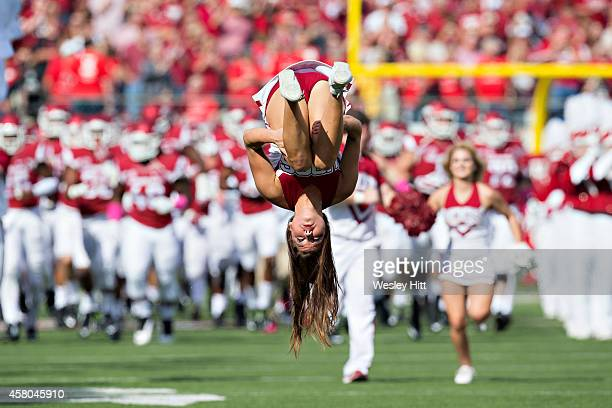 Cheerleader of the Arkansas Razorbacks performs before a game against the Georgia Bulldogs at War Memorial Stadium on October 18, 2014 in Little...