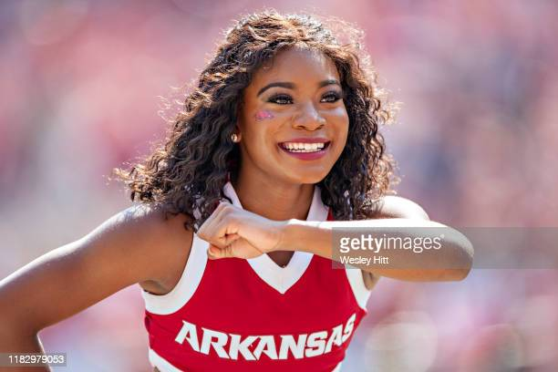 Cheerleader of the Arkansas Razorbacks performs during a game against the Colorado State Rams at Razorback Stadium on September 14, 2019 in...