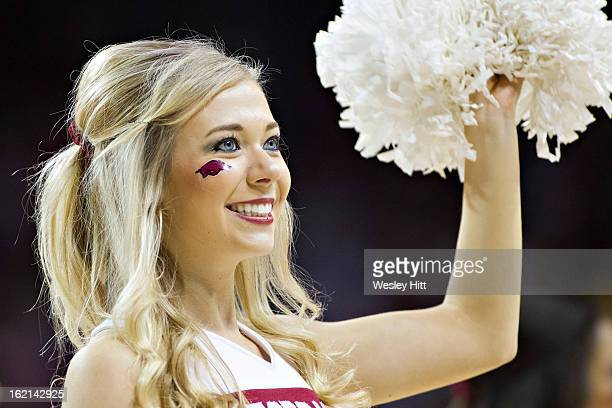 Cheerleader of the Arkansas Razorbacks performs during a game against the Missouri Tigers at Bud Walton Arena on February 16 2013 in Fayetteville...