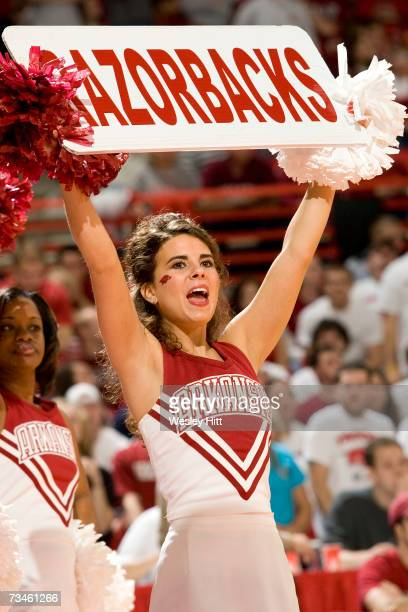 Cheerleader of the Arkansas Razorbacks performs during a game against the Tennessee Volunteers at Bud Walton Arena on February 24 2007 in...