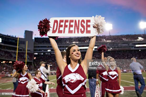 Cheerleader of the Arkansas Razorbacks tries to get the crowd cheering during a game against the Missouri Tigers at Razorback Stadium on November 24...