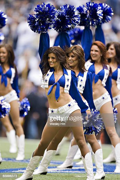 Cheerleader of the Dallas Cowboys performs during a game against the Seattle Seahawks at Texas Stadium on November 27 2008 in Irving Texas The...