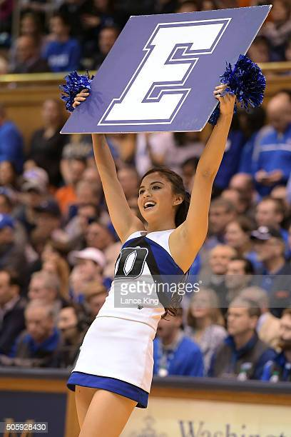 A cheerleader of the Duke Blue Devils performs during a game against the Syracuse Orange at Cameron Indoor Stadium on January 18 2016 in Durham North...