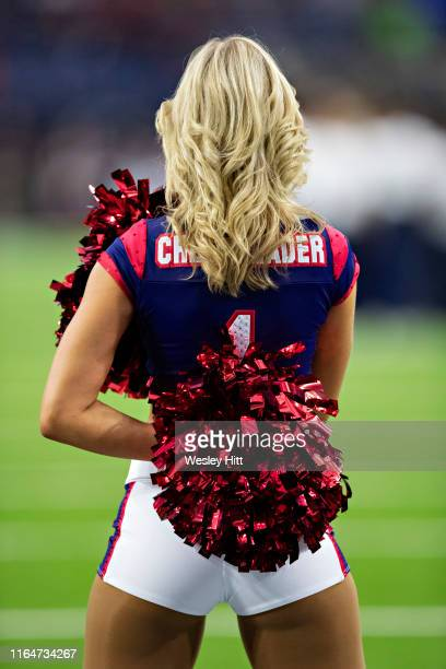 Cheerleader of the Houston Texans performs before a game against the Los Angeles Rams during week four of the preseason at NRG Stadium on August 29...
