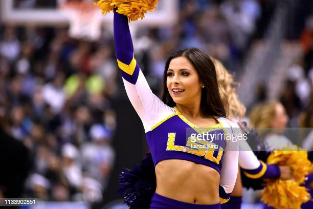 A cheerleader of the LSU Tigers performs during the game against the Michigan State Spartans during the 2019 NCAA Men's Basketball Tournament East...