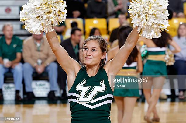 A cheerleader of the South Florida Bulls performs during the game against the Louisville Cardinals at the Sun Dome on January 9 2011 in Tampa Florida