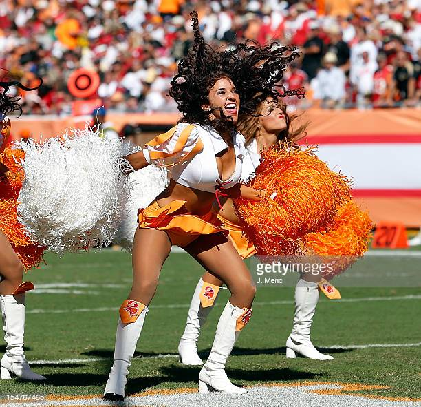 A cheerleader of the Tampa Bay Buccaneers performs during the game against the New Orleans Saints at Raymond James Stadium on October 14 2012 in...