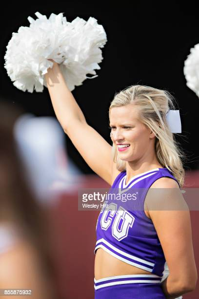 Cheerleader of the TCU Horned Frogs performs during a game against the Arkansas Razorbacks at Donald W. Reynolds Razorback Stadium on September 9,...