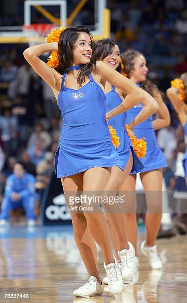 A cheerleader of the UCLA Bruins performs on the court against the Oregon State Beavers during the game at Pauley Pavilion on February 3 2007 in Los...