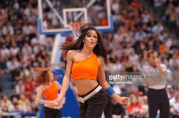 Cheerleader performs a routine during the NBA Europe Live Tour presented by EA Sports at the Koeln Arena in Cologne, Germany, Tuesday, October 10,...