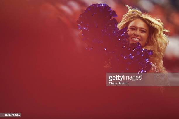 A cheerleader performs during the first half of a game between the Cleveland Browns and the Indianapolis Colts at Lucas Oil Stadium on August 17 2019...