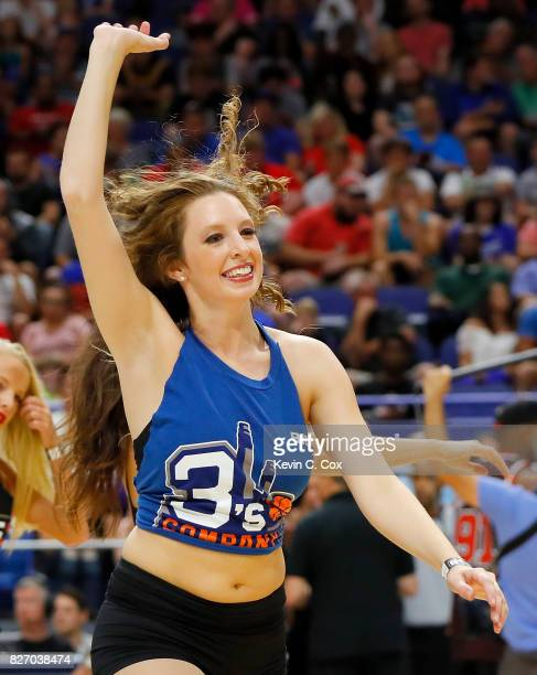 A cheerleader performs during the game between the Ball Hogs and the 3 Headed Monsters during week seven of the BIG3 three on three basketball league...