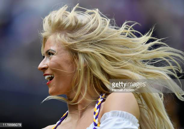 A cheerleader performs during the second quarter of the game between the Minnesota Vikings and the Philadelphia Eagles at US Bank Stadium on October...