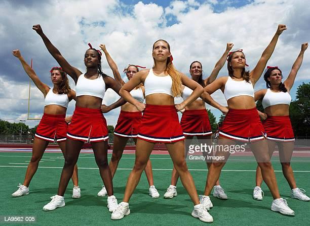 Cheerleader squad striking pose