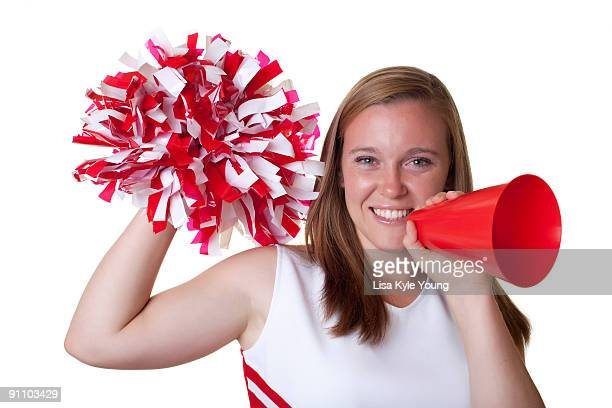 cheerleader with pom pom and megaphone - pom pom stock pictures, royalty-free photos & images