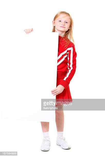 cheerleader with sign