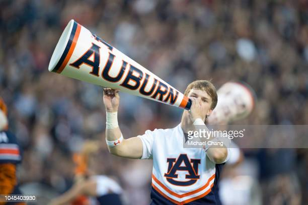 Cheerleader with the Auburn Tigers performs prior to their game against the Arkansas Razorbacks at Jordan-Hare Stadium on September 22, 2018 in...