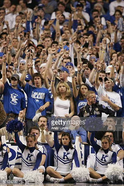 Cheerleaders and fans of the Kentucky Wildcats support their team during the game against the Kansas Jayhawks on January 9 2005 at Rupp Arena in...