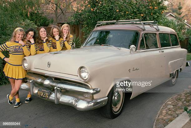 UCLA Cheerleaders and Ford Station Wagon