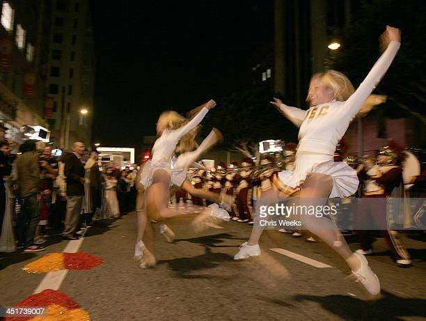 USC cheerleaders and USC marching band during Designers and Agents Open LA Market Week Celebrating the Opening of Fred Eric's New Restaurant Tiara...