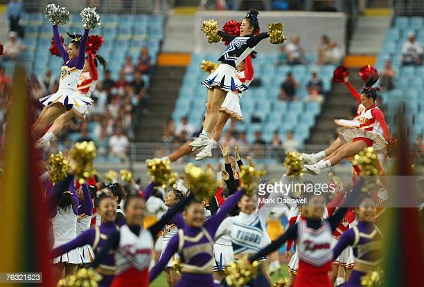Cheerleaders are part of the show at the opening ceremony held on day one of the 11th IAAF World Athletics Championships on August 25 2007 at the...