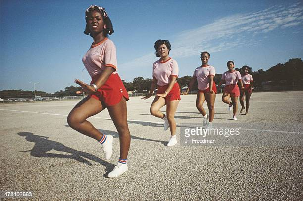 Cheerleaders at a high school in Miami Florida circa 1982