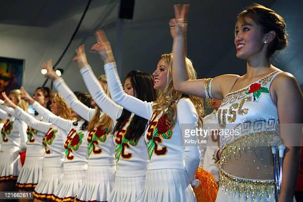 Cheerleaders at the Rose Bowl kickoff luncheon in Pasadena, Calif. On Tuesday, January 3, 2006.