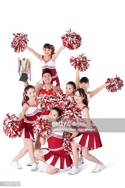 cheerleaders celebrating a win - asian cheerleaders stock photos and pictures