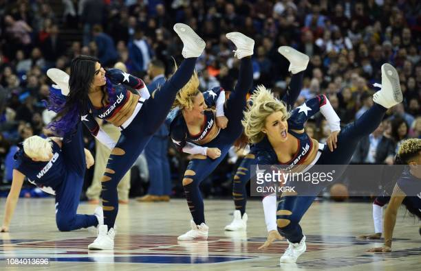 TOPSHOT Cheerleaders dance during the NBA London Game 2019 basketball game between Washington Wizards and New York Knicks at the O2 Arena in London...