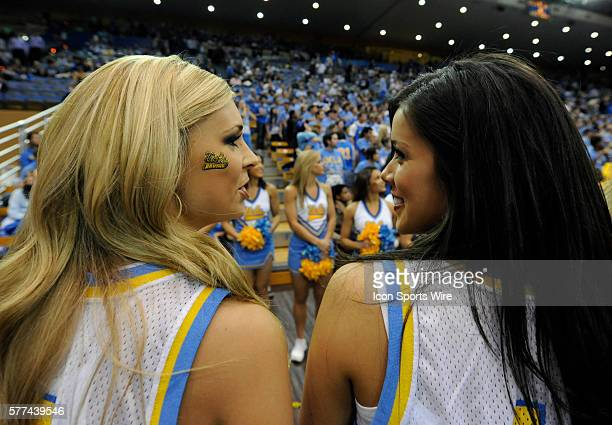 UCLA cheerleaders during a college basketball game between the California Golden Bears and the UCLA Bruins played at Pauley Pavilion in Los Angeles CA
