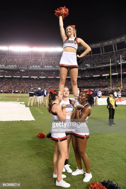 Cheerleaders during the college football game between UC Davis Aggies and San Diego State University Aztecs on September 02 2017 at Qualcomm Stadium...