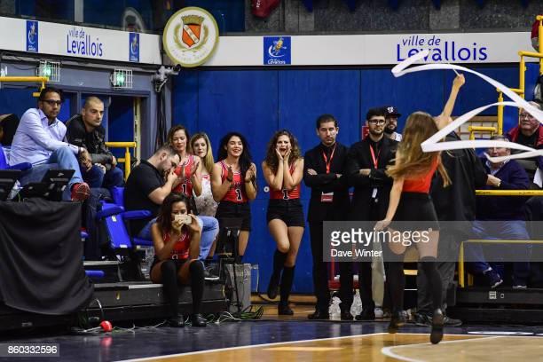Cheerleaders during the EuropCup match between Levallois Metropolitans and Darussafaka Istanbul at Salle Marcel Cerdan on October 11 2017 in Paris...