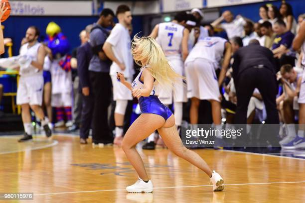 Cheerleaders during the Jeep Elite match between Levallois Metropolitans and Dijon at Salle Marcel Cerdan on April 22 2018 in Levallois France