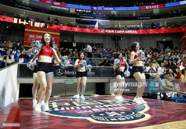 Cheerleaders entertain the fans during the preseason game between the the Los Angeles Kings and the Vancouver Canucks at the MercedesBenz Arena...
