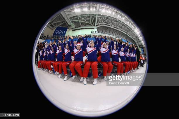 Cheerleaders for Korea perform during the Women's Ice Hockey Preliminary Round Group B game between Sweden and Korea on day three of the PyeongChang...