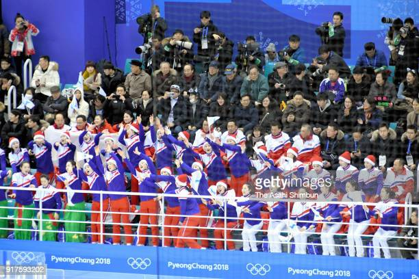 Cheerleaders for north Korea perform during the Women's Ice Hockey Preliminary Round Group B game between Sweden and Korea on day three of the...