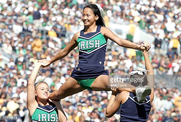 Cheerleaders for Notre Dame Fighting Irish perform during the game against the Stanford Cardinal on October 7 2006 at Notre Dame Stadium in South...