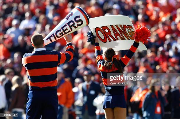 Cheerleaders for the Auburn Tigers peform before the game against the Alabama Crimson Tide at JordanHare Stadium on November 27 2009 in Auburn Alabama