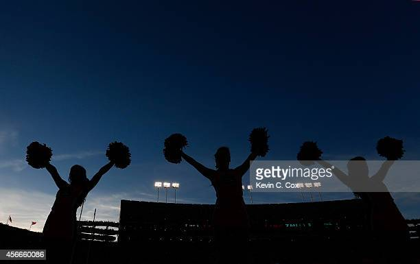 Cheerleaders for the Auburn Tigers perform prior to the game between the Auburn Tigers and the LSU Tigers at Jordan Hare Stadium on October 4 2014 in...