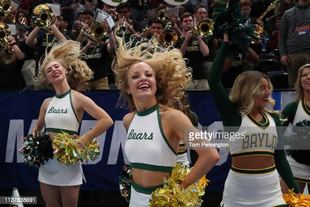 Cheerleaders for the Baylor Bears perform prior to during their game against the Gonzaga Bulldogs in the Second Round of the NCAA Basketball...