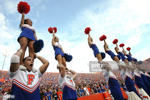 Cheerleaders for the Florida Gators perform while taking on the Troy Trojans at Ben Hill Griffin Stadium on September 8, 2007 in Gainesville, Florida.