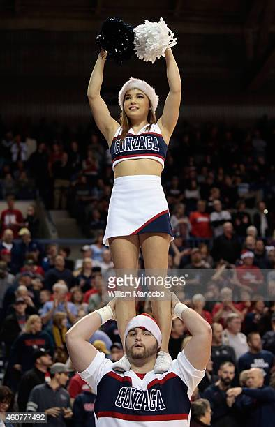 Cheerleaders for the Gonzaga Bulldogs perform during the game against the Texas Southern Tigers at McCarthey Athletic Center on December 15 2014 in...