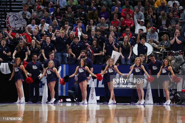 Cheerleaders for the Gonzaga Bulldogs perform during their game against the Baylor Bears in the Second Round of the NCAA Basketball Tournament at...